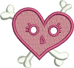 Heart and Cross Bones embroidery design