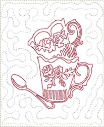 Stipple Tea Cup Mat embroidery design