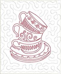 Triple Cups Mug Mat Block embroidery design