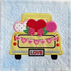 Vintage Valentine Truck 1 Quilt Blk embroidery design