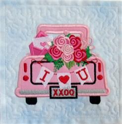 Vintage Valentine Truck 3 Quilt Blk embroidery design