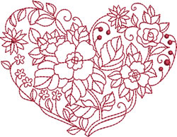 Vintage Floral Heart embroidery design