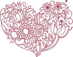 Tulip Bouquet Heart embroidery design