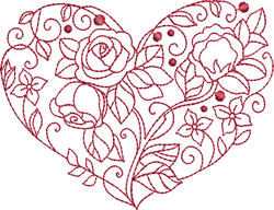 Roses & Sweetpeas Heart embroidery design