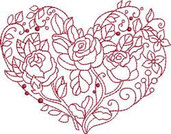 Redwork Rose Heart embroidery design