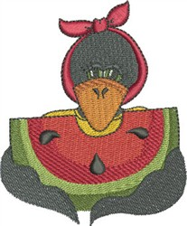 Watermelon and Crow embroidery design