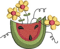Watermelon and Flowers embroidery design