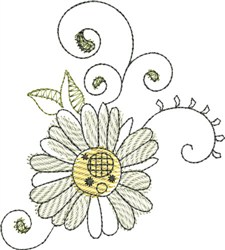 Watercolor Daisy embroidery design