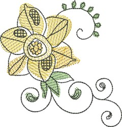 Watercolor Buttercup embroidery design