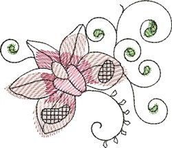 Watercolor Orchid embroidery design