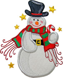 Applique Snowman Stars embroidery design