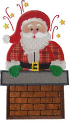 Chimney Santa Applique embroidery design