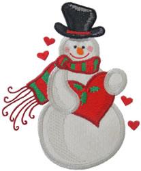 Heart Snowman Applique embroidery design
