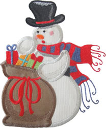 Snowman with Presents Applique embroidery design