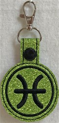 ITH Pisces Key Fob embroidery design