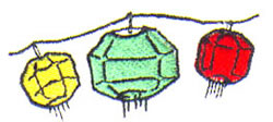 Lanterns embroidery design