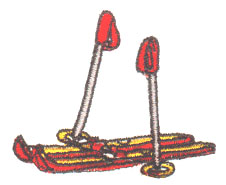 Skis & Poles embroidery design