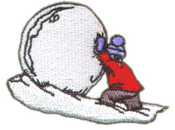 Boy & Snowball embroidery design