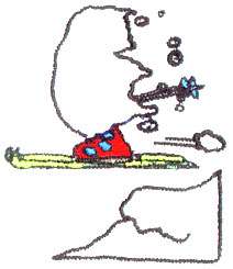 Snowy Skier embroidery design