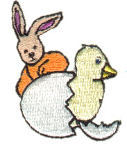 Rabbit and Chick embroidery design