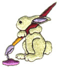 Bunny with Brush embroidery design