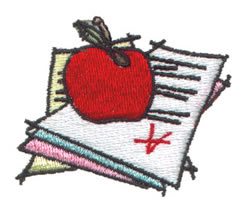 Apple on Papers embroidery design