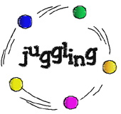 Juggling embroidery design
