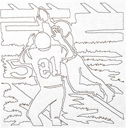 Football Catch Quilting Outline embroidery design