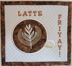 Latte Friyay! Mug Rug embroidery design