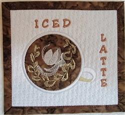 Iced Latte Mug Rug embroidery design