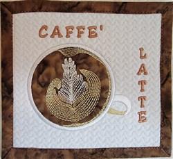 Caffe Latte Mug Rug embroidery design