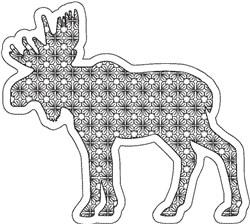 Reverse Applique Moose embroidery design
