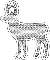 Reverse Applique Deer embroidery design
