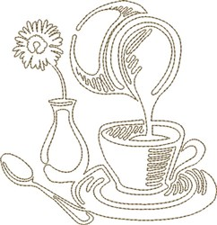Coffee & Creamer embroidery design