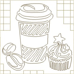 Coffee and Cupcake embroidery design