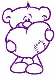 Bear Valentine embroidery design