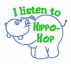 Hippo-Hop embroidery design