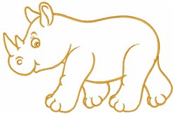 Rhino Outline embroidery design