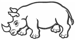 Rhinocerous Outline embroidery design