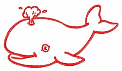 Whale Outline embroidery design