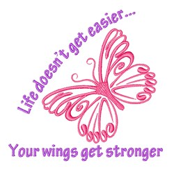 Wings Get Stronger embroidery design