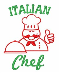 Italian chef embroidery design