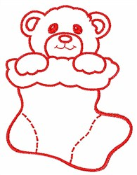 Stocking With Bear embroidery design