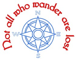 Not All Who Wander embroidery design