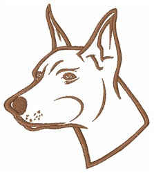 Doberman Outline embroidery design