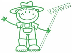 Farmer Boy Outline embroidery design