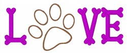 Love Pawprint embroidery design