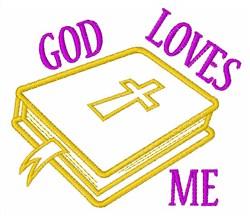 God Loves Me embroidery design