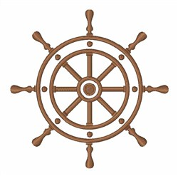 Ship's Wheel Outline embroidery design