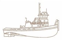 Tug Boat Outline embroidery design